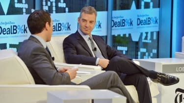 NEW YORK, NY - NOVEMBER 12:Journalist Andrew Ross Sorkin (L) and founder of Third Point LLC Daniel Loeb participate in a discussion at the New York Times 2013 DealBook Conference in New York
