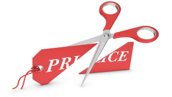 3d render.Scissors and price tag isolated on white background.