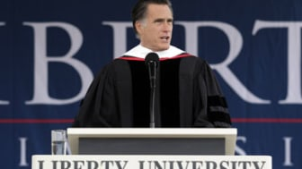 Republican presidential candidate, former Massachusetts Gov. Mitt Romney delivers the commencement address at the Liberty University in Lynchburg, Va, Saturday, May 12, 2012. (AP Photo/Jae C.
