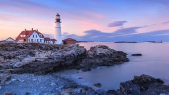 The lighthouse on the rocky shores of Portland, Maine