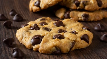 A pile of delicious chocolate chip cookies.