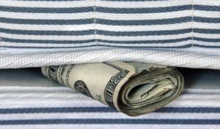 Money stashed under mattress