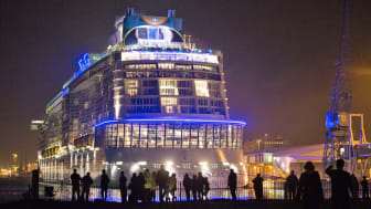 SOUTHAMPTON, ENGLAND - OCTOBER 31:People gather to see the cruise ship Quantum of the Seas which is currently docked at Southampton on October 31, 2014 in Southampton, England.Billed as the w