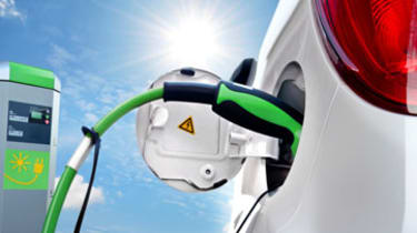 Electric Car loading on Solar Charging Station