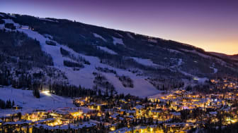 Dusk in Vail Colorado - View of ski slopes and Vail Village in Vail, Colorado.Winter landscape with scenic view.