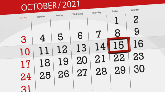 picture of a October 2021 calendar with the 15th circled