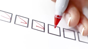 Woman marking in a checkbox