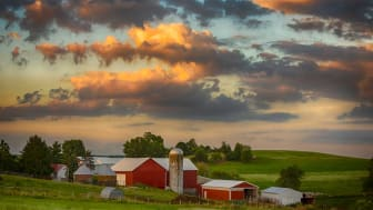 A farm in Ohio as seen at sunset