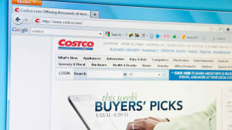 Costco's home page as seen on a computer screen