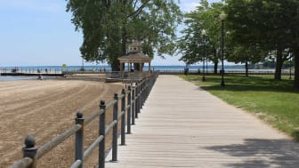 A park  next to a beach