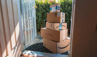 Amazon package delivery at front door of a residence in Los Angeles
