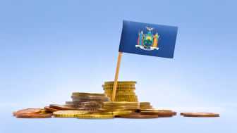 picture of New York flag in coins