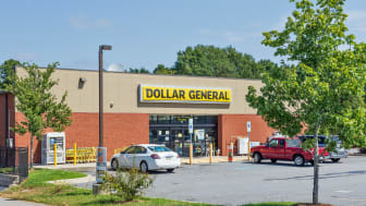Hickory, NC, USA-9/2/18: A Dollar General store, exterior. Three cars in parking lot.No people.
