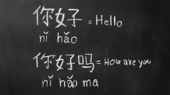 Foreign language and interpretation on a chalkboard