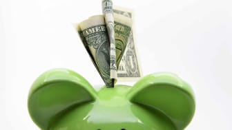 Green piggy bank with US dollar bills on a white background