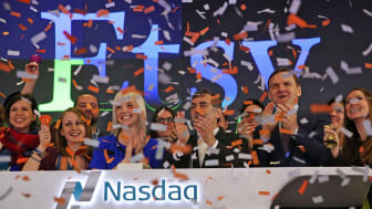 NEW YORK, NY - APRIL 16:The CEO of the online marketplace Etsy, Chad Dickerson, stands with the CFO Kristina Salen on the floor of the Nasdaq as the company becomes a public company began Thu