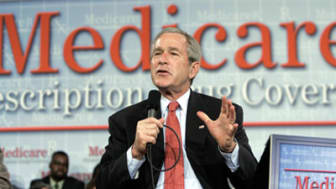 President Bush speaks on his Medicare Prescription Drug Benefit plan at the Asociacion Borinquena de Florida Central, Wednesday, May 10, 2006, in Orlando, Fla. (AP Photo/Pablo Martinez Monsiv