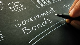 government bonds written on blackboard