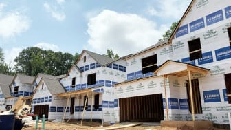 Several mid-construction homes that are being built by D.R. Horton