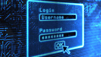 A login and password box on a blue computer screen