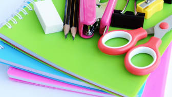 Office or school supplies on white background