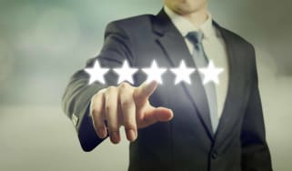 Man pointing to ratings system