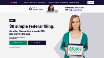 Screenshot of TaxAct home page featuring a smiling young woman holding a computer tablet