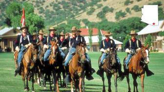 Cavalry reenactors on horseback in Sierra Vista, Ariz.
