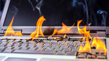 A laptop on fire