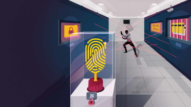 Illustration of giant fingerprint scanning scammer