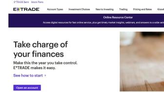 screenshot of E*trade home page