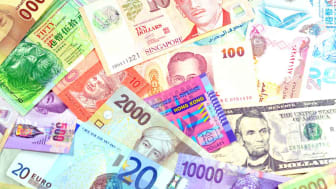 Foreign currency notes. Concept of global economic growth and trade.