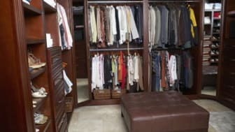 Interiors of a walk-in wardrobe