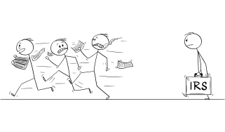 drawing of three stick figure people running away from stick figure IRS auditor