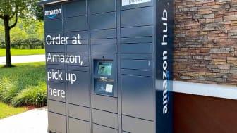 An Amazon Hub Locker outside of a convenience store in Skokie, Ill.