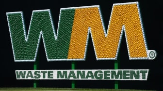 SCOTTSDALE, AZ - FEBRUARY 04:The Waste Management signage made from golf balls and golf tees is seen on the 17th tee box during the first round of the Waste Management Phoenix Open at TPC Sco