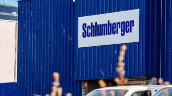IJmuiden Santpoort Zuid, Netherlands: Schlumberger logotype on the facade of the local headquarter representation near petroleum port