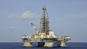 Gulf of Mexico, USA- July 28, 2009: The semi-submersible oil drilling platform Deepwater Horizon at a drilling location offshore Louisiana in the Gulf of Mexico. The rig made significant oil