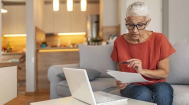 Baby boomer researching retirement savings plans.