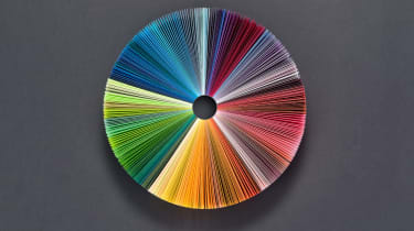 Colorful Pie Chart Consists of Paper Pages on Deep Grey Background.