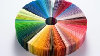 Colorful Pie Chart Consists of Paper Pages on White Background.