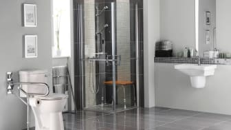 picture of a home bathroom with some special features for a disabled person