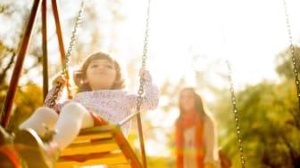 Little Girl on a swing in park