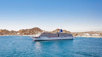 A cruise ship sailing.