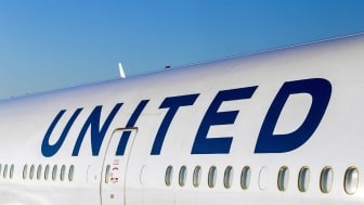 Frankfurt, Germany - July 17, 2014: United Airlines aircraft logo at an aircraft in Frankfurt. United Airlines is headquartered in Chicago, Illinois.
