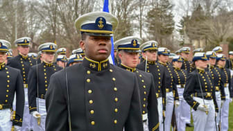 picture of Black Coast Guard Academy cadet in formation
