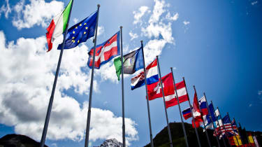 World flags blowing in wind.