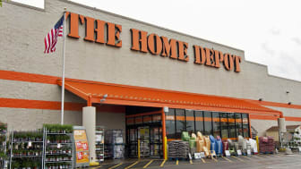 Mount Prospect, IL, USA - May 29, 2011: Entrance of The Home Depot home improvement store in Mount Prospect, IL, a suburb of Chicago.Plants and chairs for sale are displayed in front of store