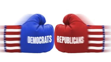 US Elections boxing gloves isolated on a white background