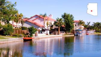 Homes along a waterway in Avondale, Ariz.